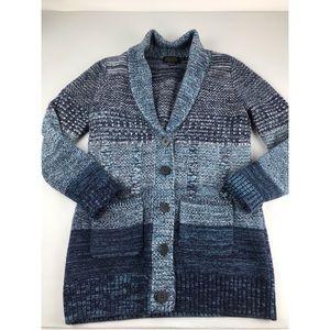 Pendleton Women Cardigan Sweater Lambswool Blue